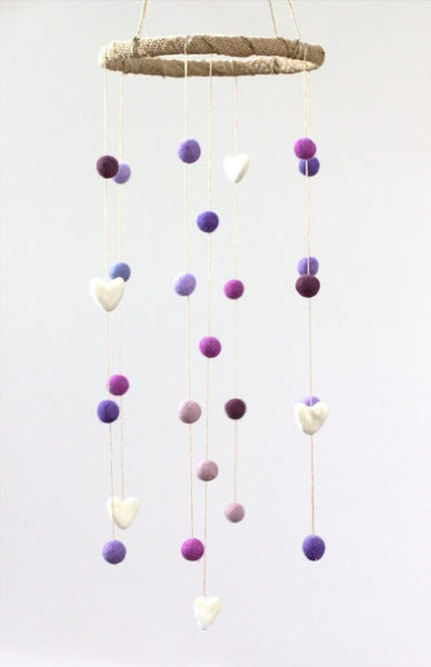 Felt Nursery Mobile- Shades of Purple, Lavender & White Felt Balls and Felt Hearts