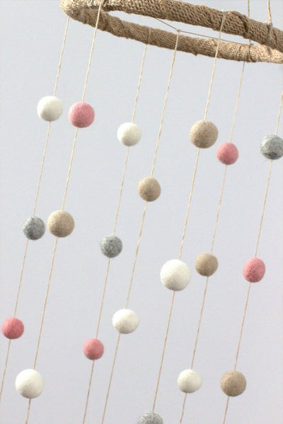 Pink, Gray, Almond & White Felt Ball Nursery Mobile SMALL SIZE- Nursery Childrens Room Pom Pom Mobile Garland Decor