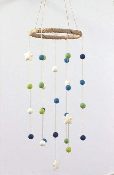 Blue & Green Felt Ball and Star Nursery Mobile- Felt Pom Pom Ball Childrens Room Decor