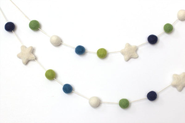 Felt Ball Garland- Blue Green White Stars and Balls- Pom Pom- Nursery- Wedding- Party- Childrens Room