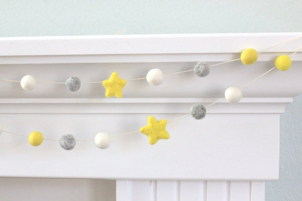 Felt Ball Star Garland- Yellow Gray White- Pom Pom- Nursery- Holiday- Wedding- Party- Childrens Room