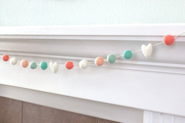 Coral Aqua Felt Ball Garland- Felt Hearts & Balls- Pom Pom- Nursery- Holiday- Wedding- Party- Childrens Room