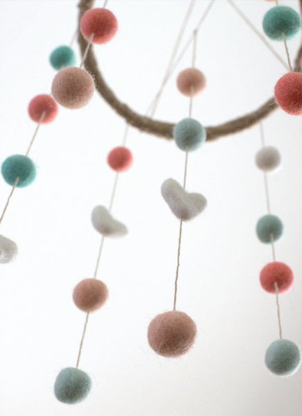 Coral, Peach, Aqua, White Felt Ball & Heart Nursery Mobile