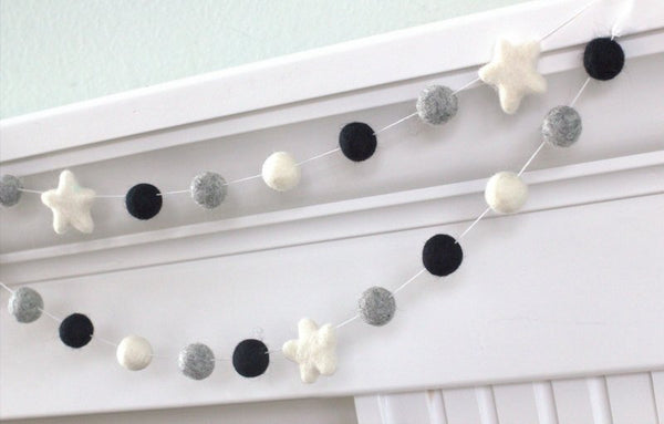 Felt Ball & Star Garland- Black Gray White- Pom Pom- Nursery- Holiday- Wedding- Party- Childrens Room