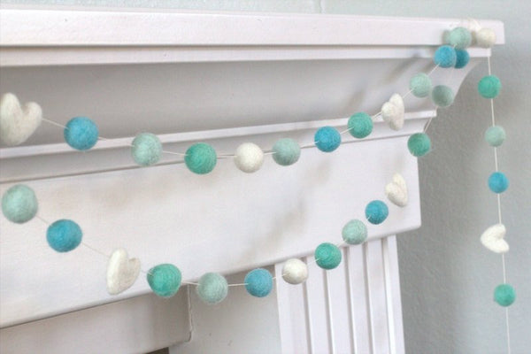 Aqua Turquoise Felt Ball & Heart Garland- Pom Pom- Nursery- Holiday- Wedding- Party- Childrens Room