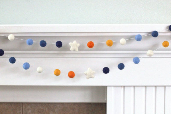 Blue Orange Felt Ball & Star Garland- Pom Pom- Nursery- Holiday- Wedding- Party- Childrens Room