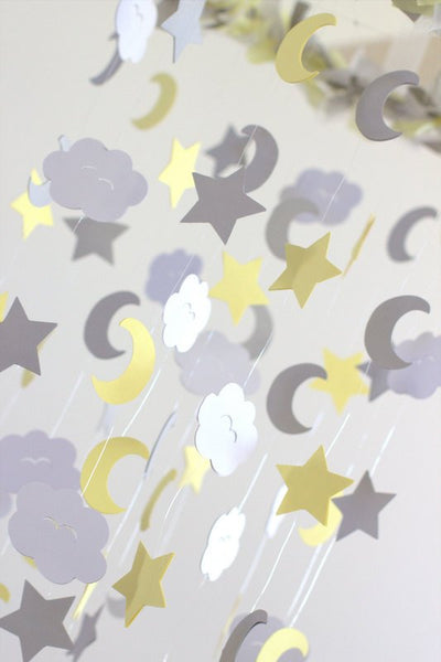 Yellow Gray Star, Moon & Cloud Nursery Mobile- Neutral Nursery Decor, Baby Shower Gift, Baby Mobile
