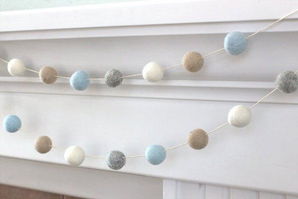 Felt Ball Garland- Blue, Gray, Almond & White- Pom Pom- Nursery- Holiday- Wedding- Party- Childrens Room