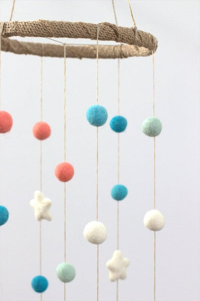Coral, Aqua, Turquoise, White Felt Ball & Star Nursery Mobile- Baby Childrens Room Decor