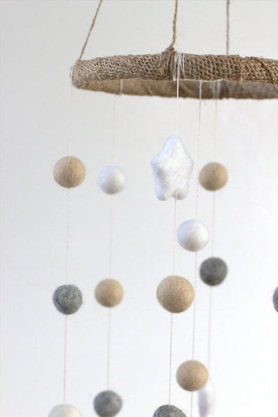 Neutral Star & Felt Ball Nursery Mobile SMALL SIZE- Almond, Gray, White-  Nursery Childrens Room Pom Pom Mobile Garland Decor