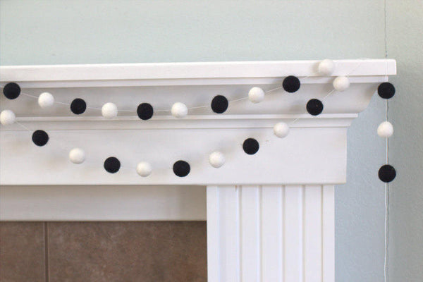 Black & White Felt Ball Garland Neutral Contrasting Colors- Pom Pom- Nursery- Holiday- Wedding- Party- Childrens Room