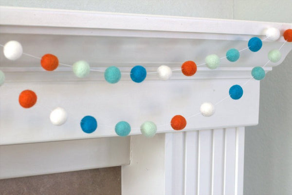 Turquoise Orange Felt Ball Garland- Pom Pom- Nursery- Holiday- Wedding- Party- Childrens Room