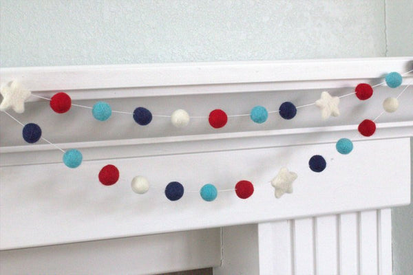 Nautical Felt Garland- Blue Red Ball & Star Garland- Pom Pom- Nursery- Holiday- Wedding- Party- Childrens Room
