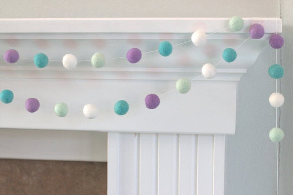 Lavender & Turquoise Felt Ball Garland- Pom Pom- Nursery- Holiday- Wedding- Party- Childrens Room