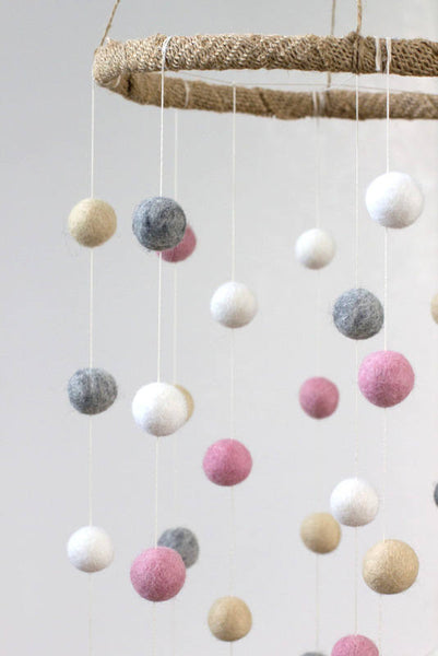 LARGE Pink, Gray, Almond & White Felt Ball Nursery Mobile- Nursery Childrens Room Pom Pom Mobile Garland Decor