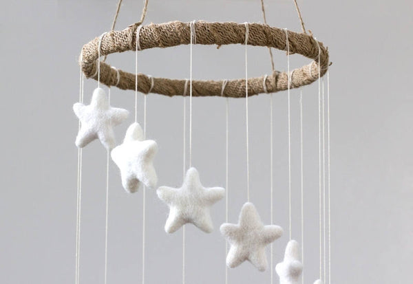 Spiral Felt Star Mobile- Neutral Nursery- White- Felt Ball Mobile