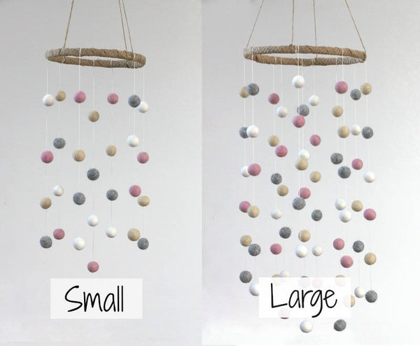 Black, Gray, White Felt Ball & Star Nursery Mobile SMALL SIZE- Baby Childrens Room Decor