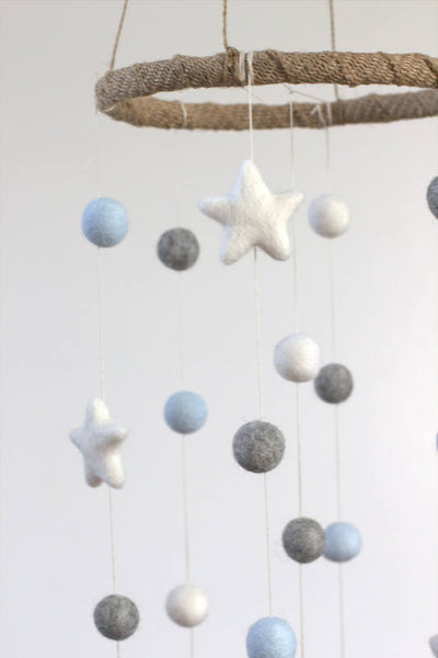 Ice Blue, Gray, White Felt Ball & Star Nursery Mobile- Baby Childrens Room Decor