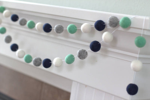 Navy Aqua Gray White Felt Ball Garland- Pom Pom- Nursery- Holiday- Wedding- Party- Childrens Room