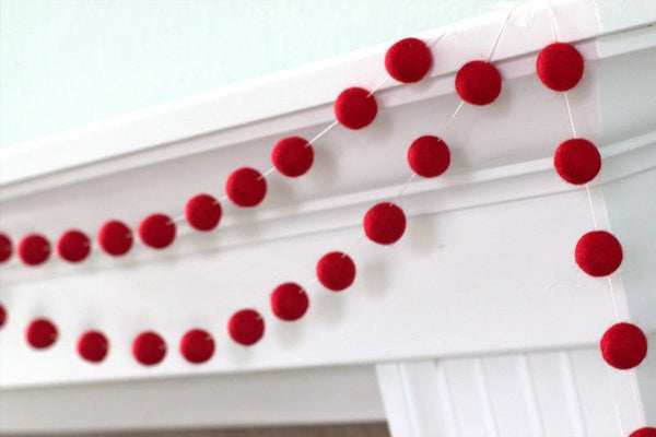 Red Felt Ball Garland- Pom Pom-Christmas Valentines Holiday- Wedding- Party- Childrens Room Nursery
