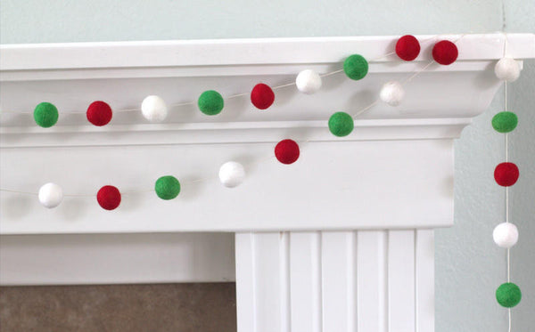 Christmas Garland Felt Ball Garland- Christmas Holiday Decor in Red, Green & White