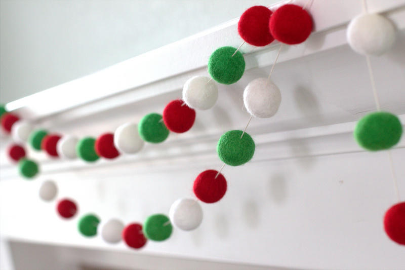Christmas Garland Felt Ball Garland In Red Green White Matthew