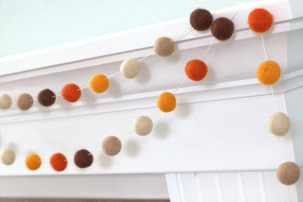 Fall Felt Ball Garland- Brown Orange Thanksgiving Autumn- Pom Pom