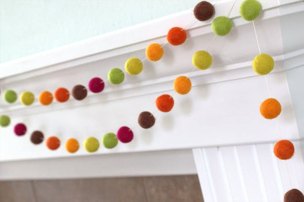 Thanksgiving Felt Ball Garland- Brown Orange Burgandy Fall Autumn- Pom Pom
