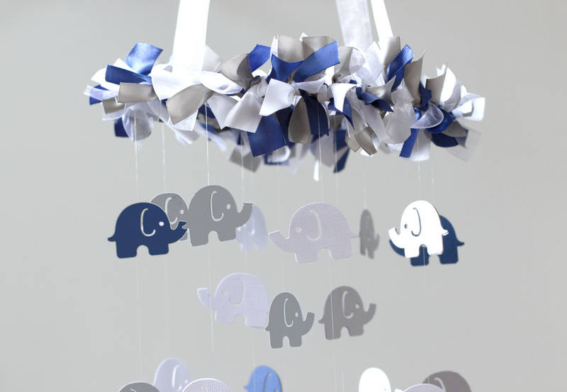 Blue Elephant Nursery Mobile Navy Blue Gray White