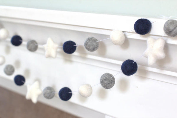 Navy Gray White Felt Ball & Star Garland- Pom Pom- Nursery- Holiday- Wedding- Party- Childrens Room