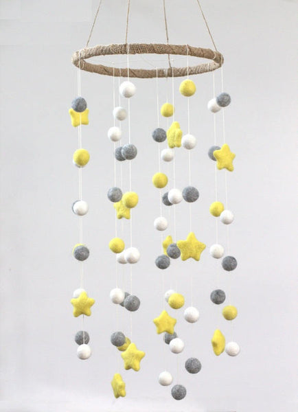 LARGE Yellow, Gray, White Felt Ball & Star Nursery Mobile- Nursery Childrens Room Pom Pom Mobile Garland Decor