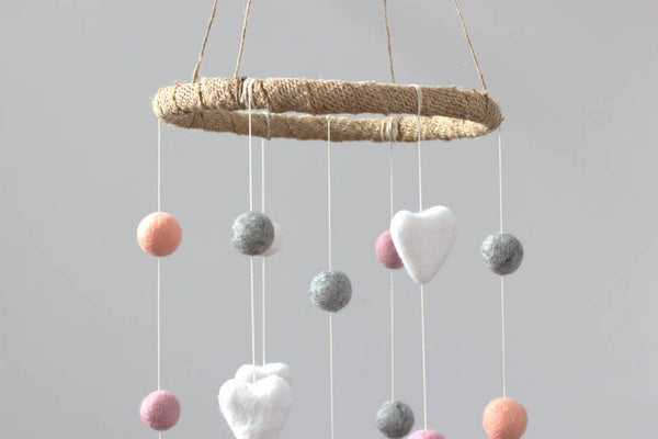 Pink, Peach, Gray, White Felt Ball & Heart Nursery Mobile- Baby Childrens Room Decor
