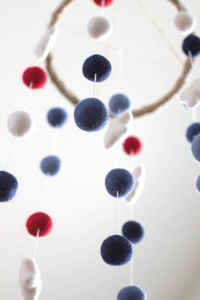 Red White Blue Felt Ball & Star Nursery Mobile