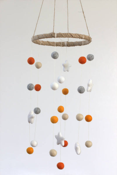 Neutral Star & Felt Ball Nursery Mobile- Orange, Almond, Gray, White- SMALL SIZE-  Nursery Childrens Room Pom Pom Mobile Garland Decor