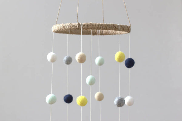 Felt Ball Nursery Mobile- Navy, Yellow, Mint, Gray, Almond, White