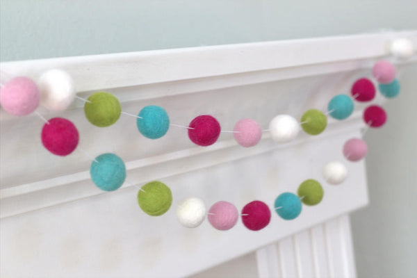 Pink Felt Ball Garland - Pink, Turquoise, Green, White- Party Nursery Childrens Room Decor