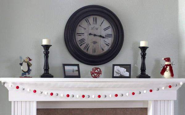 Red, Gray, White Felt Ball Garland- Christmas, Valentines Holiday Party Decor
