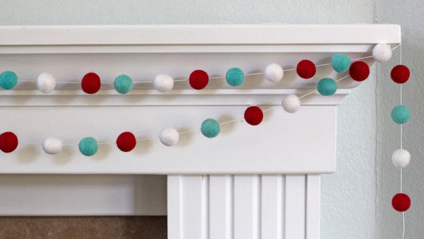 Red Turquoise White Christmas Garland Felt Ball Garland- Christmas Holiday Decor