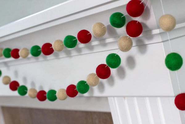 Red, Kelly Green, Almond Christmas Garland Felt Ball Garland- Christmas Holiday Decor