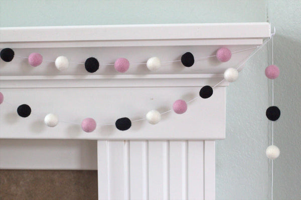 Pink, Black, White Wool Felt Ball Pom Pom Garland- Nursery Baby Child Home Mantle Decor