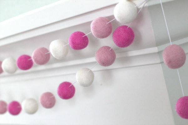 Valentine's Decor Baby Pink, Rose & White Felt Ball Garland - Valentines Holiday Party Nursery Childrens Room Decor