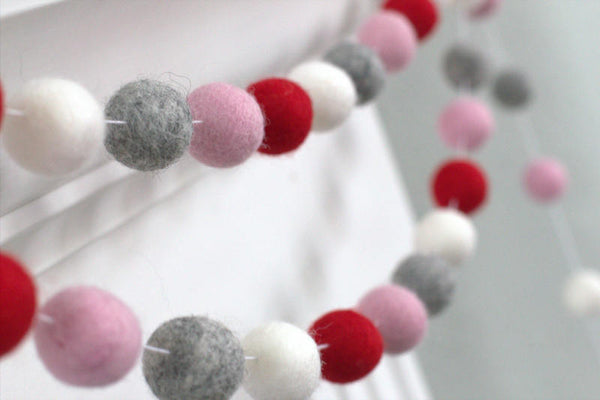 Red, Pink, Gray & White Felt Ball Garland - Valentines Holiday Party Nursery Childrens Room Decor