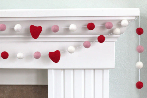 Red, Baby Pink, White Felt Ball & Heart Garland - Valentines Holiday Party Nursery Childrens Room Decor