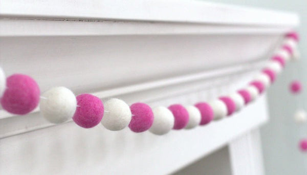 Rose Pink & White Felt Ball Garland - Valentines Holiday Party Nursery Childrens Room Decor
