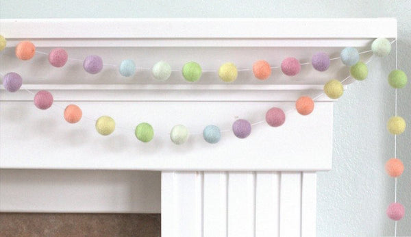 Pastel Rainbow Felt Ball Garland- Nursery Decor Felt Pom Pom Garland Wall Hanging- Children's Room
