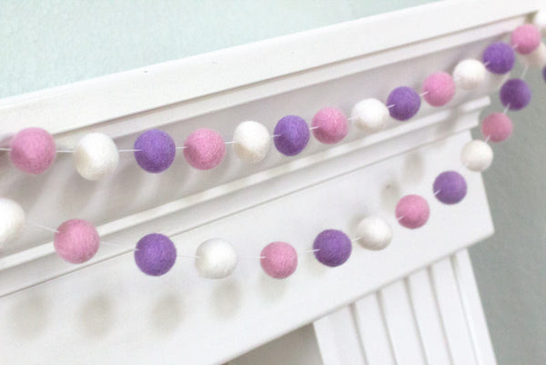 Felt Ball Garland- Blush Pink, Lavender & White- Pom Pom- Nursery- Valentines- Holiday- Wedding- Party- Childrens Room