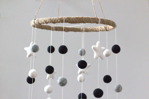 LARGE Black, Gray, White Felt Ball & Star Nursery Mobile- Nursery Childrens Room Pom Pom Mobile Garland Decor