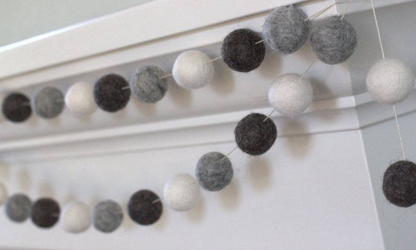 Charcoal, Gray & White Felt Ball Garland Neutral Contrasting Colors- Pom Pom- Nursery- Holiday- Wedding- Party- Childrens Room