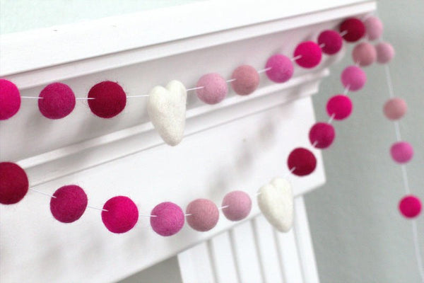 Felt Ball Garland- Shades of Pink Hearts & Balls- Pom Pom- Nursery- Valentines- Holiday- Wedding- Party- Childrens Room