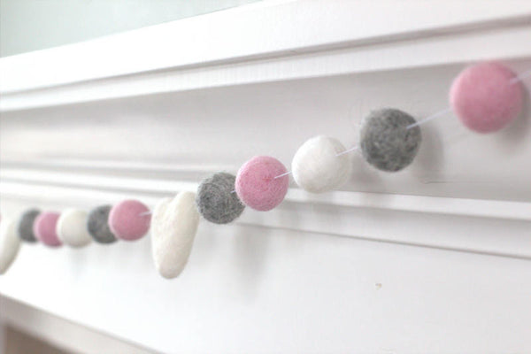 Baby Pink, Gray & White Felt Ball Garland - Valentines Holiday Party Nursery Childrens Room Decor